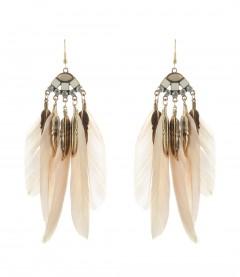 Ohrringe - Feder, beige