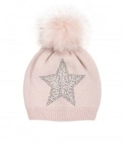 Damen Strick Bommel Mütze, rosa