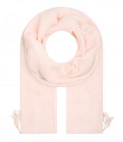 Damen Halstuch Quasten, Perlen, rosa