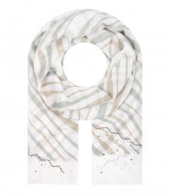 Damen Schal - Streifen, Strass, beige