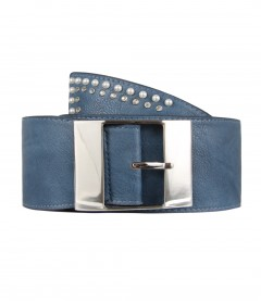 Breiter Damen Gürtel - Perlen, Strass blau