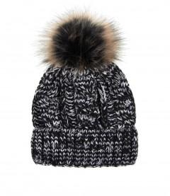 Damen Mütze - Zopfmuster, schwarz