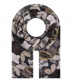 Damen Schal - Blätter, schwarz