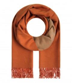 Damen Schal - Zweifarbig, Fransen, orange