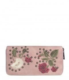 Geldbörse - Blumen, Nieten, alt rosa