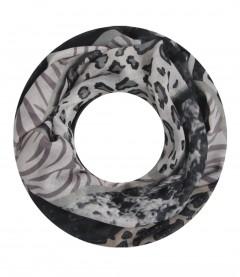 Damen Loop Schal - Animal Mix schwarz