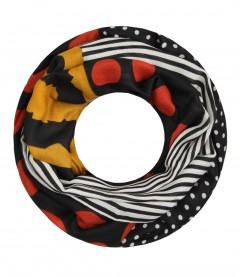 Damen Loop Schal - Streifen, Punkte, schwarz