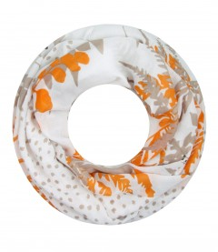 Damen Loop Schal - Blätter, Punkte, orange
