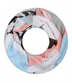 Damen Loop Schal - grafisches Muster, grau
