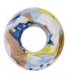 Damen Loop Schal - grafisches Muster, blau