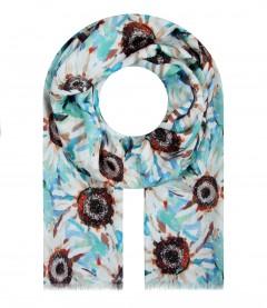 Damen Halstuch - Blumen, blau