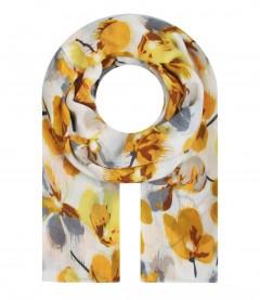 Damen Halstuch - Blumen Muster, gelb