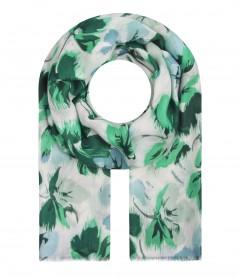 Damen Halstuch - Blumen Muster, grün