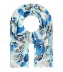 Damen Halstuch - Blumen Muster, blau